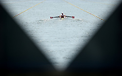 File photo dated 28-07-2012 of Switzerland's crew make their way down the course in the heats of the men's quadruple sculls.