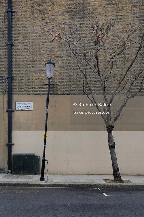 A leaning lamp post and tree on Queensdale Road W11 in Holland Park in the Royal Borough of Kensington and Chelsea, on 13th March 2018, in London, England.