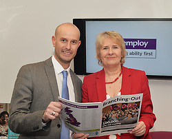 Employ Scotland Director Matt Lancashire welcomes Scottish Government Minister for the Environment  Roseanna Cunningham to the charity's Edinburgh offices during her brief visit.<br /> <br /> © Dave Johnston/ EEm
