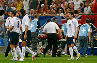 Photo: Glyn Thomas.<br />England v Portugal. Quarter Finals, FIFA World Cup 2006. 01/07/2006.<br /> Portugal's Ricardo Carvalho is carried off an a stretcher after being stamped on by Wayne Rooney.