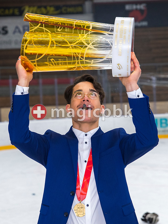Rapperswil-Jona Lakers forward Andreas Tschudi poses for a photo with the Swiss Champion trophy after winning ice hockey game 4 of the Elite B Playoff Final between EHC Chur Capricorns and Rapperswil-Jona Lakers in Chur, Switzerland, Friday, March 16, 2018. (Photo by Patrick B. Kraemer / MAGICPBK)