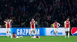 08-05-2019 NED: Semi Final Champions League AFC Ajax - Tottenham Hotspur, Amsterdam<br /> After a dramatic ending, Ajax has not been able to reach the final of the Champions League. In the final second Tottenham Hotspur scored 3-2 / Joel Veltman #3 of Ajax, Noussair Mazraoui #12 of Ajax, Daley Blind #17 of Ajax, Matthijs de Ligt #4 of Ajax, Nicolas Tagliafico #31 of Ajax, Lisandro Magallan #16 of Ajax