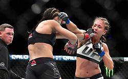 Nov 12, 2016 - New York, New York, U.S. - Joanna Jedrzejczyk (red gloves) vs. Karolina Kowalkiewicz (blue gloves) during UFC 205 at Madison Square Garden. (Credit Image: © Jason Silva via ZUMA Wire)
