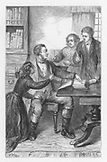 Mr Tulliver ordering Tom to write a bitter condemnation of lawyer Wakem in the front of the family Bible. Illustration by Walter James Allen (active 1859-1891) for an undated 19th century edition of  'The Mill on the Floss' by George Eliot, originally published 1860.