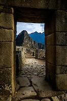 MACHU PICCHU, PERU - CIRCA OCTOBER 2015:  Old city gate in Machu Picchu in Peru