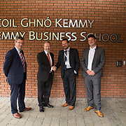 31.08. 2017.                                   <br /> Leaders in the pharmaceutical manufacturing sector in Ireland gathered at University of Limerick today for the third annual Pharmaceutical Manufacturing Technology Centre (PMTC) Knowledge Day.<br /> <br /> Pictured at the event were, Jon O'Halloran, SSPC General Manager UL, Sean Kelly MEP, Prof Gavin Walker, Bernal Chair in Pharmaceutical Powder Engineering, UL and Chris Edlin, PMTC Director.<br /> <br /> The event provided a showcase for the cutting-edge research supported by the centre with key note addresses from industry thought leaders who shared their vision of the future for the pharmaceutical sector. Picture: Alan Place