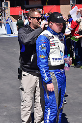 March 16, 2019 - Fontana, California, U.S. - FONTANA, CA - MARCH 16:  Winner of the race Cole Custer (00) Thompson Pipe/Haas Automation Ford getting last minute adjustments on his fire suit  at the NASCAR Xfinity Series  race on March 16, 2019 at Auto Club Speedway in Fontana, CA.  (Photo by Lyle Setter/Icon Sportswire) (Credit Image: © Lyle Setter/Icon SMI via ZUMA Press)