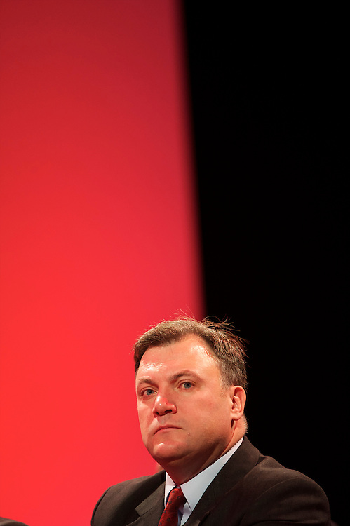 MP Ed Balls listens to a speech during the Labour Party Conference in Manchester on 27 September 2010.