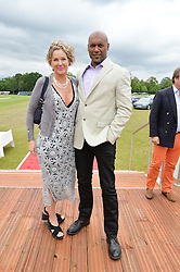 COLIN SALMON and FIONA HAWTHORNE at the Audi Polo Challenge at Coworth Park, Blacknest Road, Ascot, Berkshire on 31st May 2015.