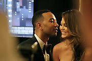 June 10, 2017-New York, New York-United States: (L-R) Recording Artist John Legend and wife, Christy Tiegen attends the 71st Annual Tony Awards Media Room held at Radio City on June 11, 2017 in New York City. The Tony Awards recognize achievement in Broadway productions during the 2016–17 season.  (Photo by Terrence Jennings/terrencejennings.com)