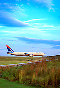 Delta airliner awaiting departure at Atlanta's Hartsfield Jackson International Airport.  October, 2008.  <br />