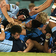 Players challenge for the ball during the Super 14 match between the Waratahs and the Bulls at the Sydney Football Stadium, Sydney, Australia on April 11, 2009.  Photo Tim Clayton
