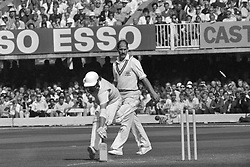 A close call for Essex's Brian Hardie during an attempted run out watched by Nottinghamshire's Clive Rice (r) at Lord's during the final of the Natwest Trophy.
