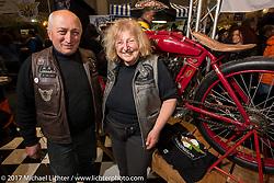 Sante Mazza and Claudia Ganzaroli in the Motociclette Americane Club of Rimini booth at Motor Bike Expo. Verona, Italy. Sunday January 22, 2017. Photography ©2017 Michael Lichter.