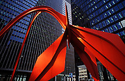 """Image of Calder's """"Flamingo"""" sculpture in downtown Chicago, Illinois, American Midwest by Randy Wells"""
