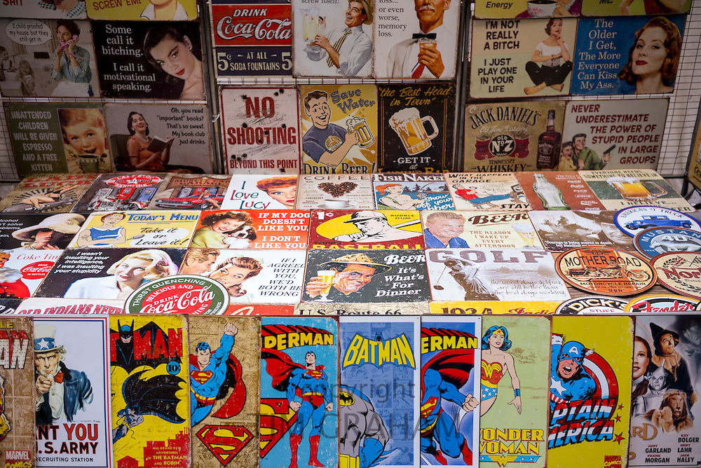 Magazines, cartoons, comics, Batman, Superman, Wonder Woman, Captain America and posters on sale at stall, New York, USA