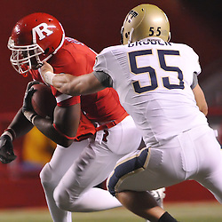 Oct 16, 2009; Piscataway, NJ, USA; Pittsburgh linebacker Max Gruder (55) tackles Rutgers wide receiver Mohamed Sanu (6) during first half NCAA football action in Pittsburgh's 24-17 victory over Rutgers at Rutgers Stadium.