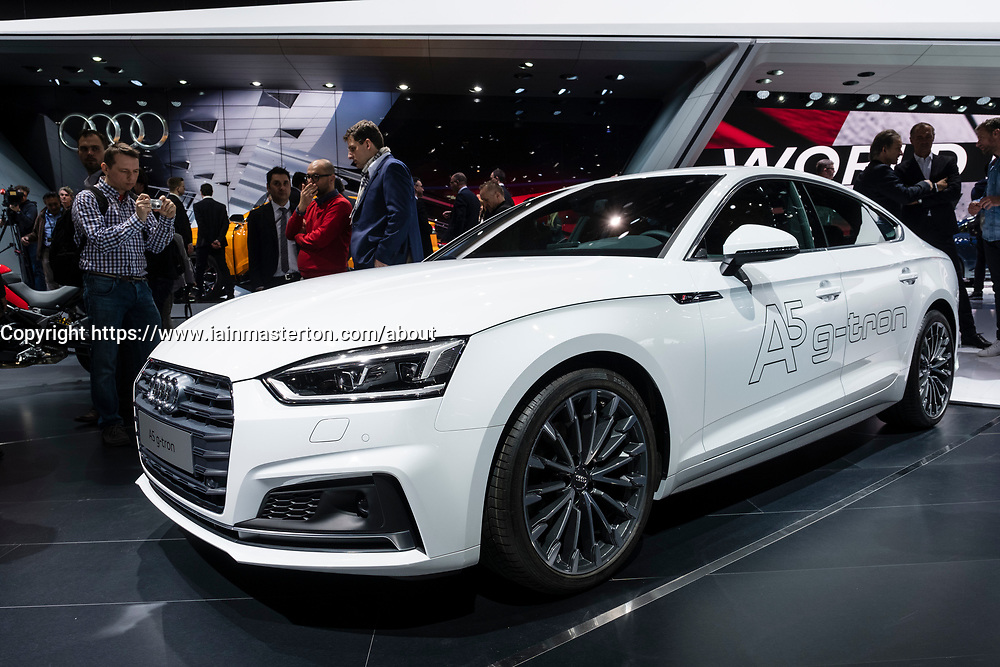 Audi G-Tron car can be powered by petrol of gas at 87th Geneva International Motor Show in Geneva Switzerland 2017