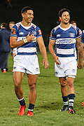 Auckland player Salesi Rayasi (left) celebrates with teammates after their win against Bay of Plenty during the Mitre 10 Cup match played at Rotorua International Stadium in Rotorua on Friday 2nd October 2020.<br /> Copyright photo: Alan Gibson / www.photosport.nz