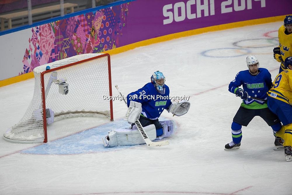 Goalie Robert Kristan (SLO)-33 during Sweden vs Slovenia game at the Olympic Winter Games, Sochi 2014