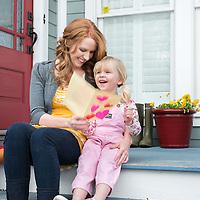 mother, daughter, mother's day, spring, porch, door