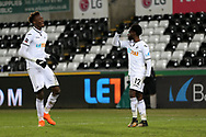 Nathan Dyer of Swansea city (12) celebrates with teammate Tammy Abraham after he scores his teams 2nd goal. The Emirates FA Cup, 5th round replay match, Swansea city v Sheffield Wednesday at the Liberty Stadium in Swansea, South Wales on Tuesday 27th February 2018.<br /> pic by  Andrew Orchard, Andrew Orchard sports photography.