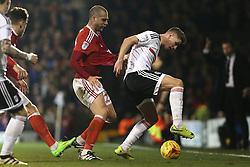 14 February 2017 - Championship Football - Fulham v Nottingham Forest<br /> Pajtim Kasami of Nottingham Forest pressures Tom Cairney of Fulham<br /> Photo: Charlotte Wilson