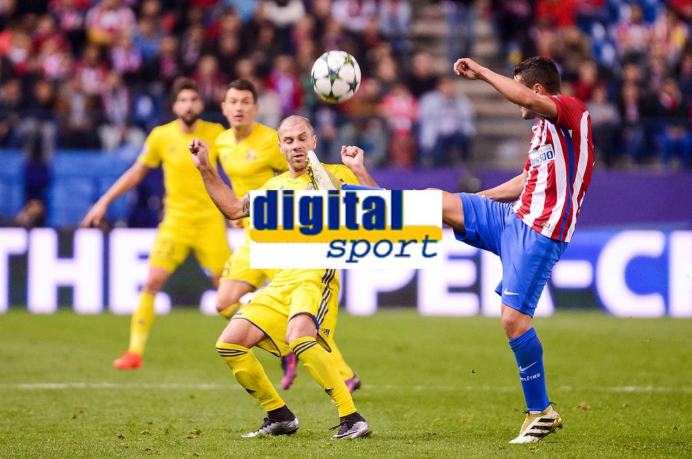 Atletico de Madrid's player Koke Resurrección and CF Rostov's player Timofei Kalachev during a match of UEFA Champions League at Vicente Calderon Stadium in Madrid. November 01, Spain. 2016. (ALTERPHOTOS/BorjaB.Hojas)