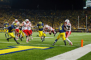Ameer Abdullah #8 scores a 5-yard touchdown with 2:03 remaining to secure Nebraska's 17-13 win at Michigan on Nov. 9, 2013. Abdullah finished with 105 yards on 27 carries. © Aaron Babcock