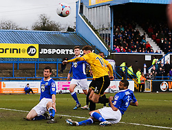 Macclesfield Town's Thierry Audel makes a last ditch tackle on Bristol Rovers' Matt Taylor - Photo mandatory by-line: Neil Brookman/JMP - Mobile: 07966 386802 - 28/03/2015 - SPORT - Football - Macclesfield - Moss Rose - Macclesfield Town v Bristol Rovers - Vanarama Football Conference