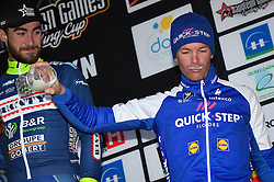 March 1, 2017 - Dour, BELGIUM - Belgian Iljo Keisse of Quick-Step Floors on the podium after the 49th edition of the Grand Prix du Samyn cycling race, Wednesday 01 March 2017. The race starts in Quaregnon and ends in Dour (202,6km). The Grand Prix du Samyn is also the first round of the Napoleon Games Cup. BELGA PHOTO DAVID STOCKMAN (Credit Image: © David Stockman/Belga via ZUMA Press)