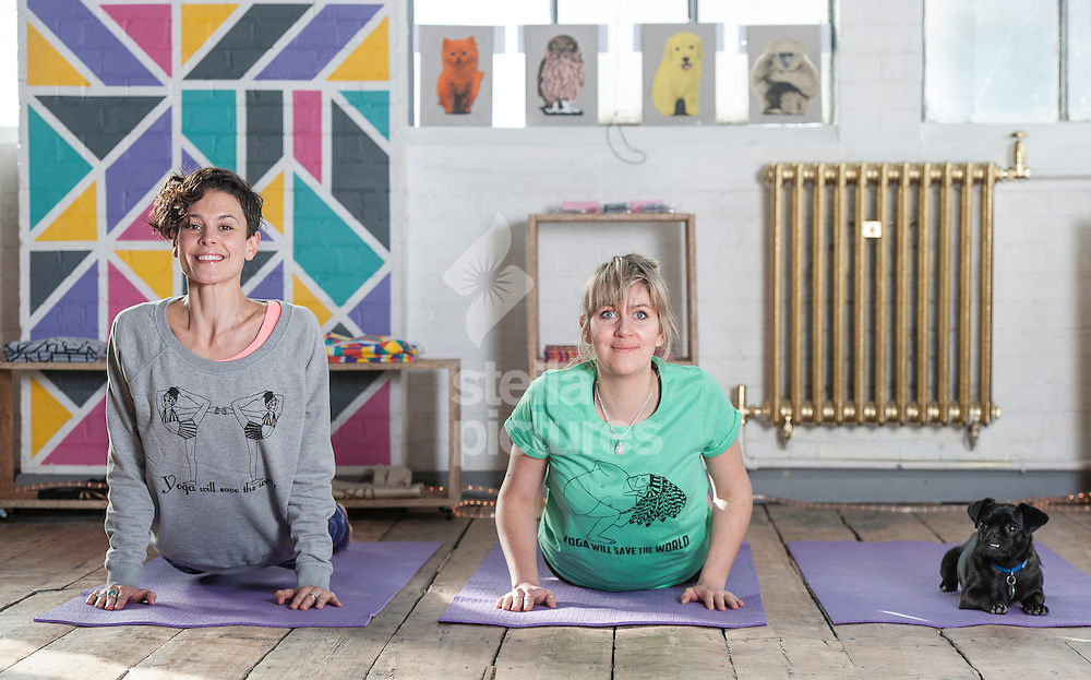Emma Arnold (left) from Yogarise with Evening Standard writer Emily Jupp. <br /> Picture by Daniel Hambury/Stella Pictures Ltd +44 7813 022858<br /> 03/03/2014
