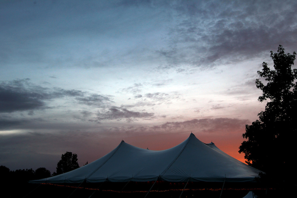 The sun sets on the Storytelling tent at the Wild Goose Festival at Shakori Hills in North Carolina June 23, 2011.  (Photo by Courtney Perry)