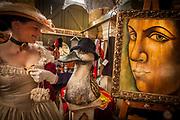 Lady in Victorian dress in Donna Demente's art gallery, Victorian festival, historic precinct, Oamaru, Otago