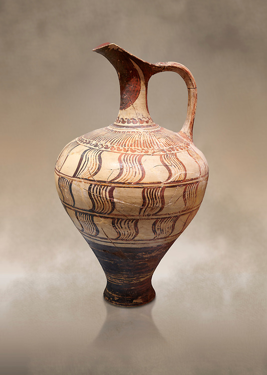 Minoan decorated jug with geometric design , Zafer Papoura 1400-1250 BC; Heraklion Archaeological Museum. .<br /> <br /> If you prefer to buy from our ALAMY PHOTO LIBRARY  Collection visit : https://www.alamy.com/portfolio/paul-williams-funkystock/minoan-art-artefacts.html . Type -   Heraklion   - into the LOWER SEARCH WITHIN GALLERY box. Refine search by adding background colour, place, museum etc<br /> <br /> Visit our MINOAN ART PHOTO COLLECTIONS for more photos to download  as wall art prints https://funkystock.photoshelter.com/gallery-collection/Ancient-Minoans-Art-Artefacts-Antiquities-Historic-Places-Pictures-Images-of/C0000ricT2SU_M9w