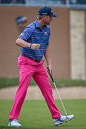 Trey Mullinax (USA) gives a celebratory fist bump after sinking his birdie putt on 18 and setting a new course record of 62  during Round 3 of the Valero Texas Open, AT&T Oaks Course, TPC San Antonio, San Antonio, Texas, USA. 4/21/2018.<br /> Picture: Golffile   Ken Murray<br /> <br /> <br /> All photo usage must carry mandatory copyright credit (© Golffile   Ken Murray)