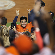 Jose Altuve, Houston Astros, salutes the Astro fans at the end of the game after the New York Yankees Vs Houston Astros, Wildcard game at Yankee Stadium, The Bronx, New York. 6th October 2015 Photo Tim Clayton for The Players Tribune