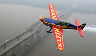Times Herald-Record/TOM BUSHEY.Times Herald-Record reporter Ben Montgomery, front seat, goes for a ride over the Newburgh Beacon Bridge with aerobatic pilot Michael Mancuso yesterday morning. Mancuso will be flying in the New York International Air Show at Stewart International Airport on Saturday and Sunday..June 12, 2003. BEN MONTGOMERY STORY.