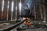 Kettle on open fire, Phongsaly Province, Laos
