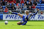 Cardiff City's Matthew Connolly stretches for the ball . Skybet football league championship match, Cardiff city v Bolton Wanderers at the Cardiff city Stadium in Cardiff, South Wales on Saturday 23rd April 2016.<br /> pic by Carl Robertson, Andrew Orchard sports photography.
