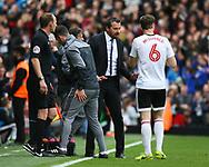 Slavisa Jokanovic of Fulham giving Kevin McDonald instructions during the Sky Bet Championship match at Craven Cottage, London<br /> Picture by Richard Brooks/Focus Images Ltd 07947656233<br /> 17/04/2017