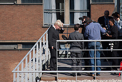 © London News Pictures. 13/09/2012. London, UK . Mayor of London Boris Johnson on a rooftop in London making an apology in front of television crews for comments he made in a 2004 article about Liverpool fans being partly to blame for the Hillsborough disaster. Photo credit: Sam Gilbert/LNP