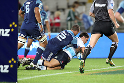 Daniel Halangahu.dives over to score. Investec Super Rugby - Blues v Waratahs, Eden Park, Auckland, New Zealand. Saturday 16 April 2011. Photo: Clay Cross / photosport.co.nz