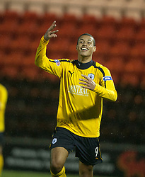 Falkirk's Lyle Taylor celebrates after scoring their fourth goal for his hat-trick..Airdrie United 1 v 4 Falkirk, 22/12/2012..©Michael Schofield.