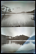 deteriorating image of a lake landscape Japan