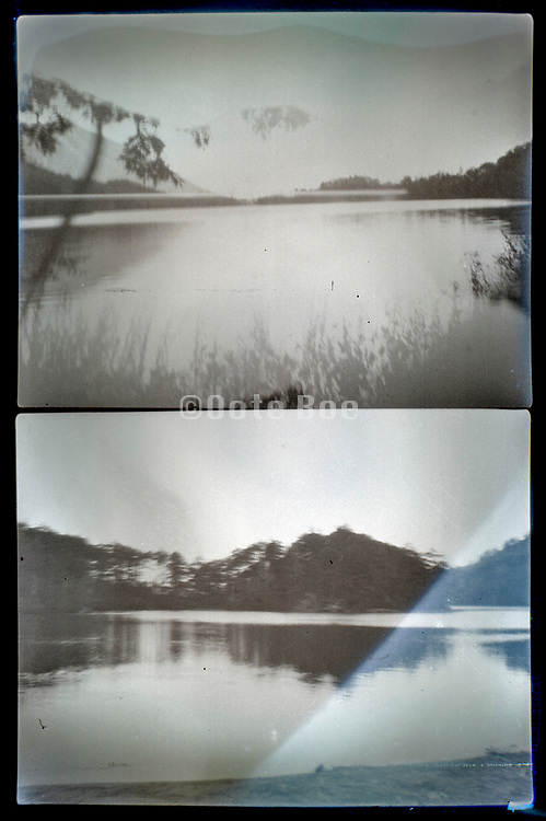 deteriorating image of a lake landscape Japan