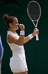 LONDON, ENGLAND - Wednesday, July 3, 2019: Maria Sakkari (GRC) celebrates after winning her Ladies' Singles second round match on Day Three of The Championships Wimbledon 2019 at the All England Lawn Tennis and Croquet Club. (Pic by Kirsten Holst/Propaganda)