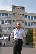 Serge Lefevre, president of Union Champagne in the court yard in front of the main building, the Union Champagne cooperative, also called Champagne de Saint Gall in Avize, Cote des Blancs, Champagne, Marne, Ardennes, France