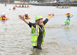 Fancy dress was the order of the day at the annual Loony Dook in the Forth on New Years Day.<br /> <br /> © Dave Johnston/ EEm