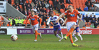 Blackpool's Jamie O'Hara scores his sides opening goal, from the penalty spot<br /> <br /> Photographer Dave Howarth/CameraSport<br /> <br /> Football - The Football League Sky Bet Championship - Blackpool v Reading - Tuesday 7th April 2015 - Bloomfield Road - Blackpool<br /> <br /> © CameraSport - 43 Linden Ave. Countesthorpe. Leicester. England. LE8 5PG - Tel: +44 (0) 116 277 4147 - admin@camerasport.com - www.camerasport.com